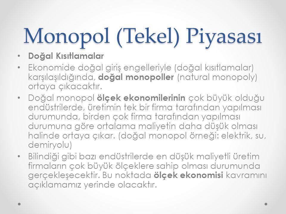 Monopol (Tekel) Piyasası Doğal Kısıtlamalar Ekonomide doğal giriş engelleriyle (doğal kısıtlamalar) karşılaşıldığında, doğal monopoller (natural monop
