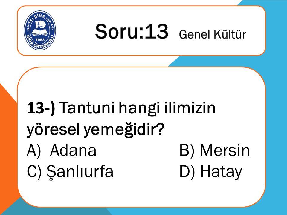 13-) Tantuni hangi ilimizin yöresel yemeğidir A)Adana B) Mersin C) Şanlıurfa D) Hatay