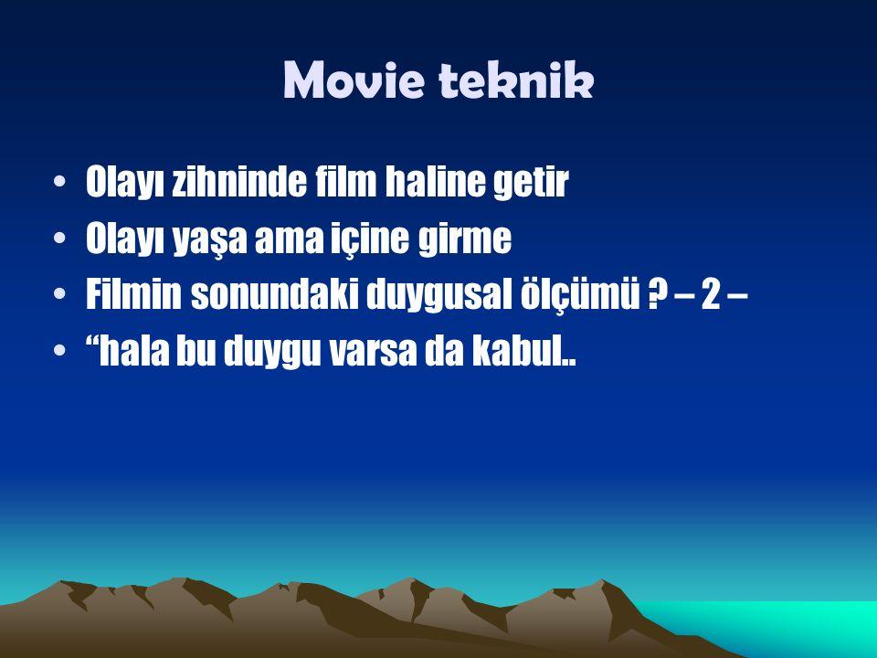 Movie teknik Olayı zihninde film haline getir Olayı yaşa ama içine girme Filmin sonundaki duygusal ölçümü .