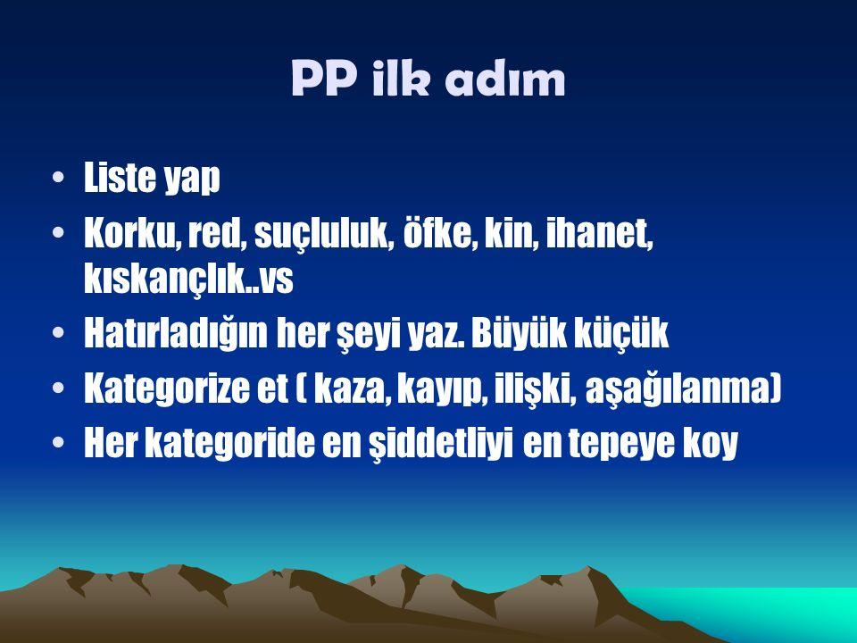 PP ilk adım Liste yap Korku, red, suçluluk, öfke, kin, ihanet, kıskançlık..vs Hatırladığın her şeyi yaz.