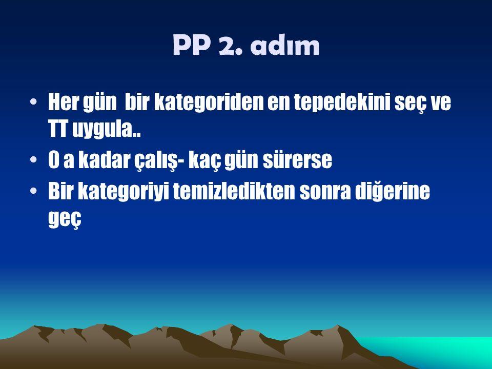 PP 2. adım Her gün bir kategoriden en tepedekini seç ve TT uygula..