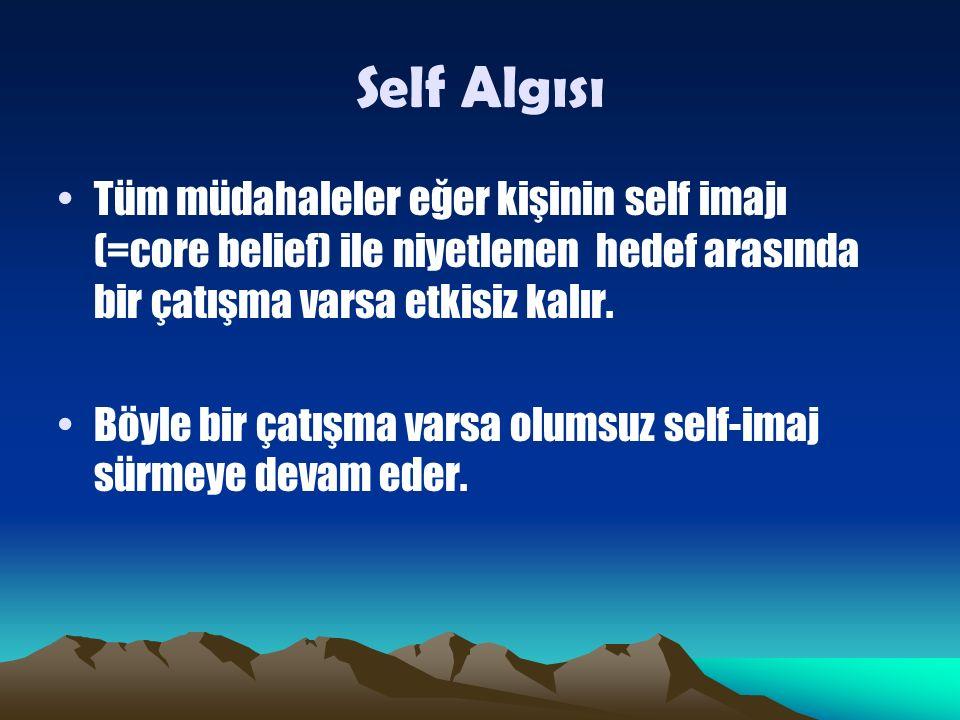 Self Algısı Tüm müdahaleler eğer kişinin self imajı (=core belief) ile niyetlenen hedef arasında bir çatışma varsa etkisiz kalır.