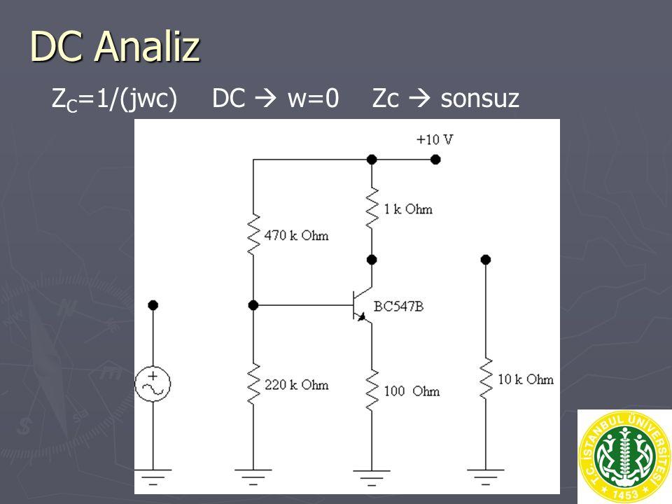DC Analiz Z C =1/(jwc) DC  w=0 Zc  sonsuz