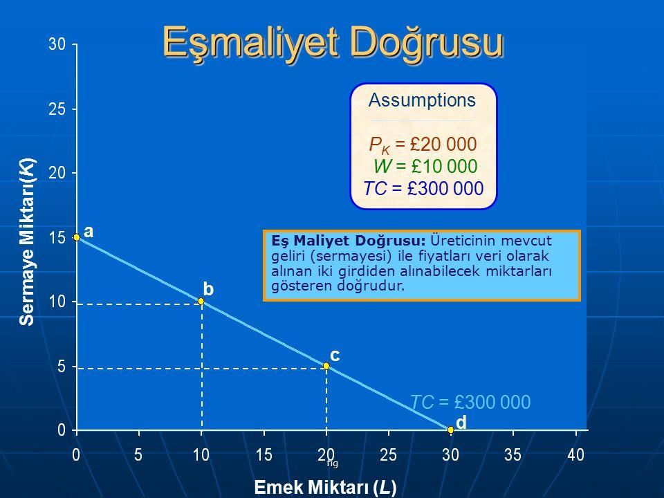 fig Emek Miktarı (L) Sermaye Miktarı(K) TC = £300 000 a b c d Assumptions P K = £20 000 W = £10 000 TC = £300 000 Eşmaliyet Doğrusu Eş Maliyet Doğrusu