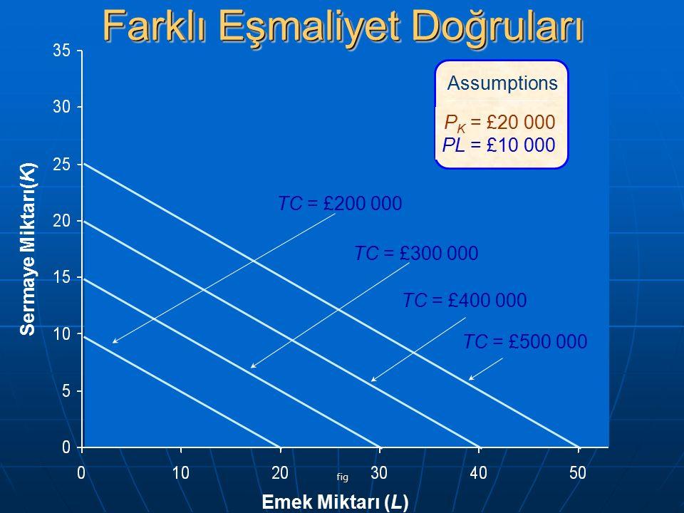 fig Emek Miktarı (L) Sermaye Miktarı(K) Assumptions P K = £20 000 PL = £10 000 TC = £200 000 TC = £300 000 TC = £400 000 TC = £500 000 Farklı Eşmaliye