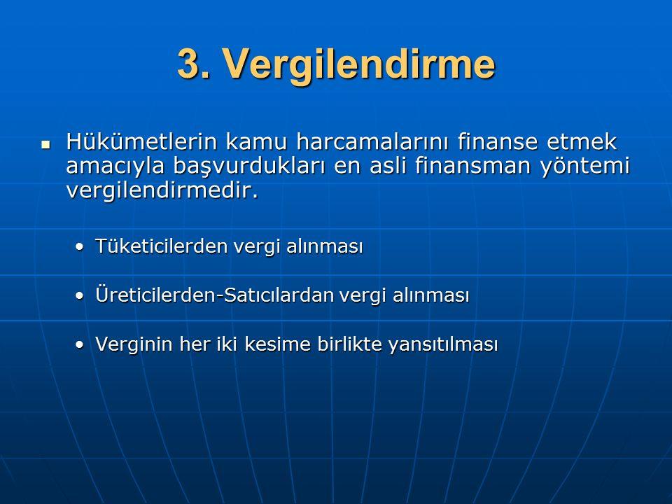 3. Vergilendirme Hükümetlerin kamu harcamalarını finanse etmek amacıyla başvurdukları en asli finansman yöntemi vergilendirmedir. Hükümetlerin kamu ha