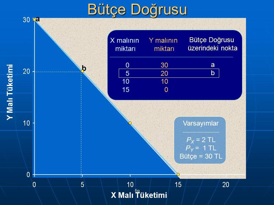 fig Y Malı Tüketimi X Malı Tüketimi a b X malının miktarı 0 5 10 15 Y malının miktarı 30 20 10 0 Bütçe Doğrusu üzerindeki nokta a b Varsayımlar P X =