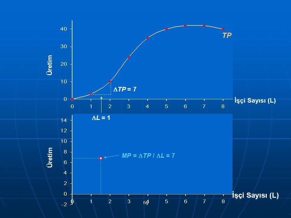 fig İşçi Sayısı (L) Üretim TP Üretim İşçi Sayısı (L)  TP = 7  L = 1 MP =  TP /  L = 7