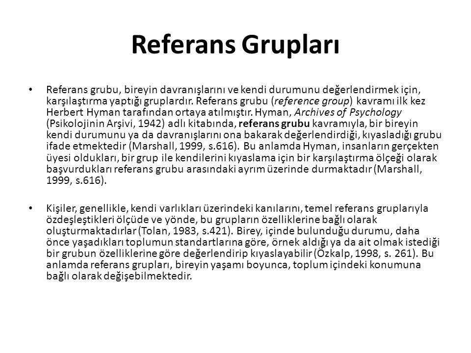 Referans Grupları Referans grubu, bireyin davranışlarını ve kendi durumunu değerlendirmek için, karşılaştırma yaptığı gruplardır.