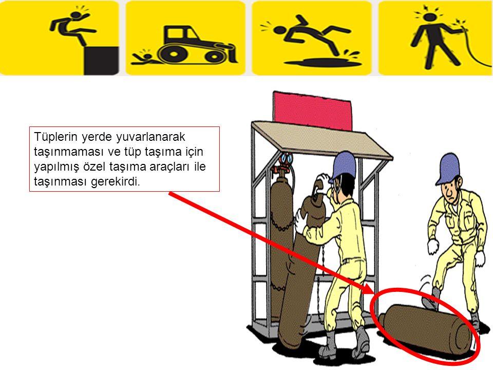 Tüplerin yerde yuvarlanarak taşınmaması ve tüp taşıma için yapılmış özel taşıma araçları ile taşınması gerekirdi.