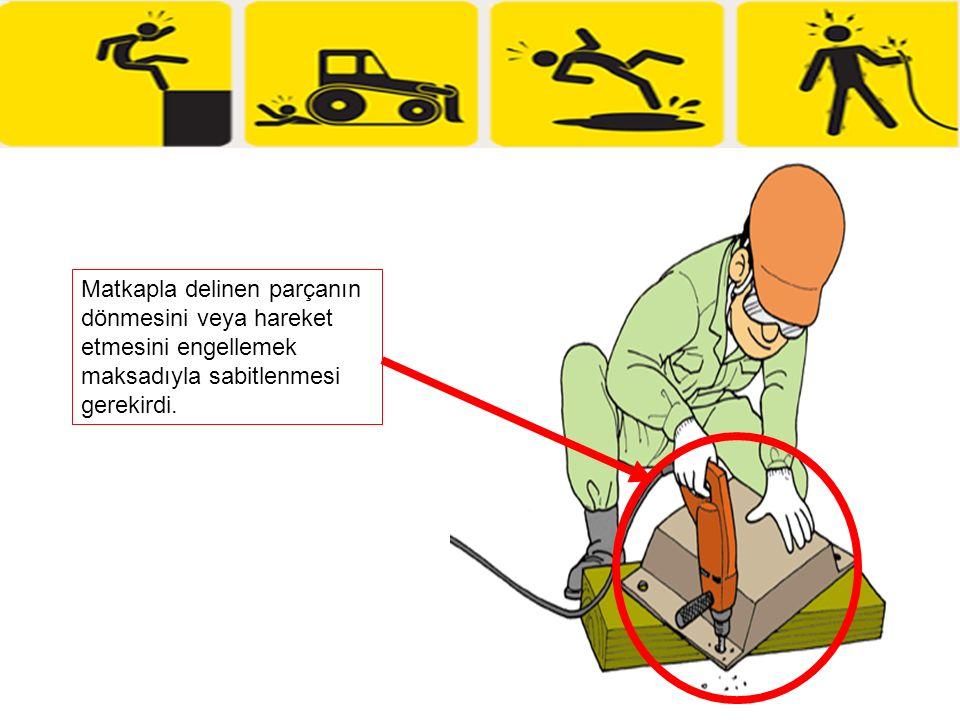 Matkapla delinen parçanın dönmesini veya hareket etmesini engellemek maksadıyla sabitlenmesi gerekirdi.