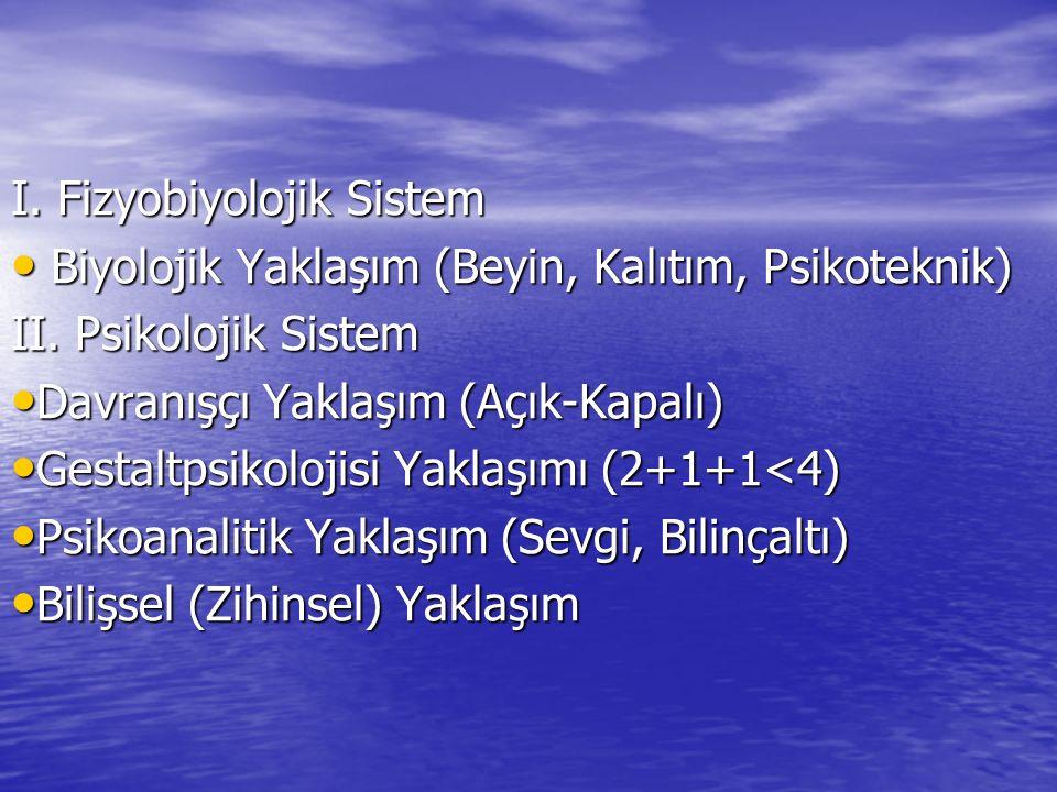 I. Fizyobiyolojik Sistem Biyolojik Yaklaşım (Beyin, Kalıtım, Psikoteknik) Biyolojik Yaklaşım (Beyin, Kalıtım, Psikoteknik) II. Psikolojik Sistem Davra