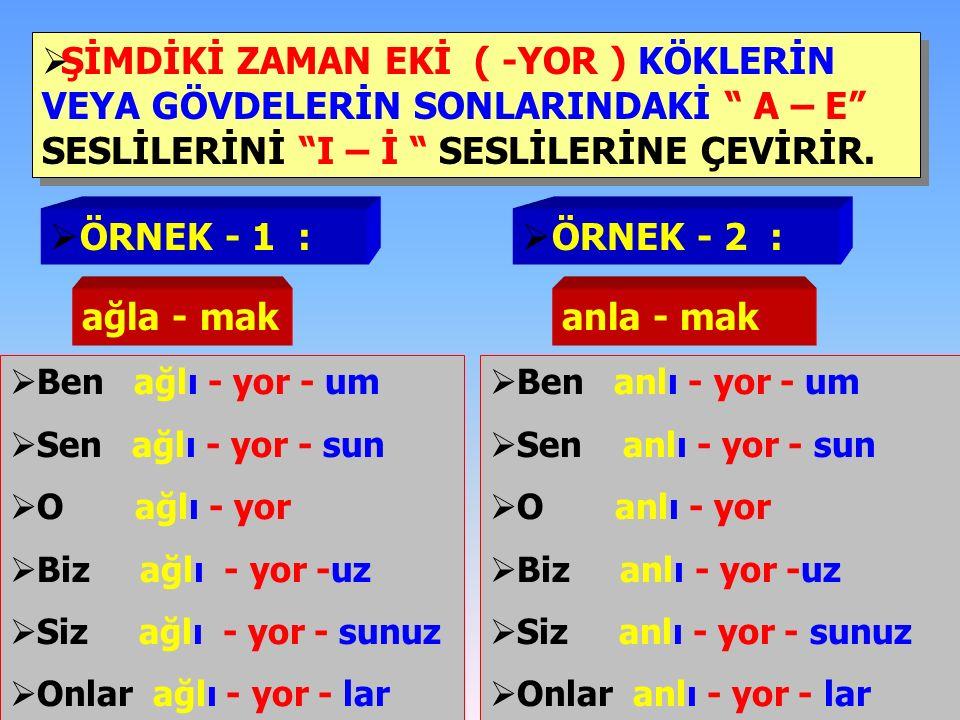  Recai Bey şarkı söyle- mi-yor.( şarkı söyle- mek )  Osman kitap oku-mu-yor.