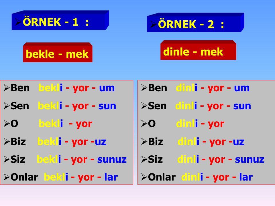  ÖRNEK - 1 :  Ben gel-mi-yor - um  Sen gel -mi- yor - sun  O gel -mi- yor  Biz gel -mi- yor- uz  Siz gel-mi- yor-sunuz  Onlar gel- mi- yor- lar  ÖRNEK - 2 :  FİİL ÇEKİMİ FORMÜL FİİL KÖKÜ + mı,mi,mu,mü + YOR + ŞAHIS EKİ  Ben çalış-mı-yor - um  Sen çalış-mı- yor - sun  O çalış-mı- yor  Biz çalış-mı- yor- uz  Siz çalış-mı- yor-sunuz  Onlar çalış-mı- yor- lar