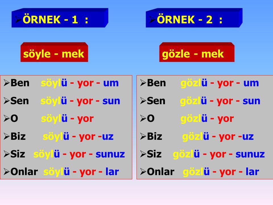  Ben oynu - yor - um  Sen oynu - yor - sun  O oynu - yor  Biz oynu - yor -uz  Siz oynu - yor - sunuz  Onlar oynu - yor - lar  Ben koklu - yor - um  Sen koklu - yor - sun  O koklu - yor  Biz koklu - yor -uz  Siz koklu - yor - sunuz  Onlar koklu - yor - lar  ÖRNEK - 1 :  ÖRNEK - 2 : oyna - makkokla - mak  ŞİMDİKİ ZAMAN EKİ ( -YOR ) KÖKLERİN VEYA GÖVDELERİN SONLARINDAKİ A – E SESLİLERİNİ U – Ü SESLİLERİNE ÇEVİRİR.