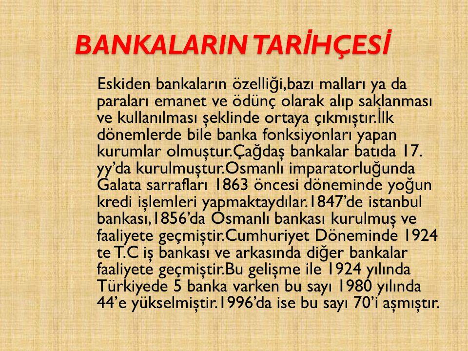 BANKALARIN TAR İ HÇES İ Eskiden bankaların özelli ğ i,bazı malları ya da paraları emanet ve ödünç olarak alıp saklanması ve kullanılması şeklinde ortaya çıkmıştır.