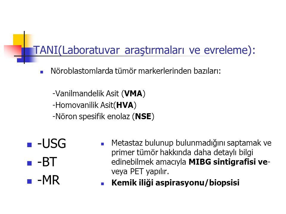 TANI(Laboratuvar araştırmaları ve evreleme): Nöroblastomlarda tümör markerlerinden bazıları: -Vanilmandelik Asit (VMA) -Homovanilik Asit(HVA) -Nöron s