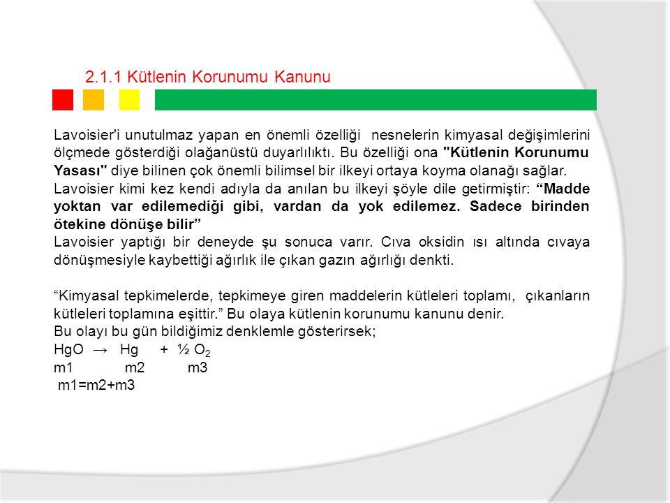 2.1.2 Kütlenin Korunumu Kanunu (Etk) DNFe (kütlesi)S (kütlesi)BİLEŞİĞİN Kütlesi 15632 2148 31233 42816 Fe + S → FeS