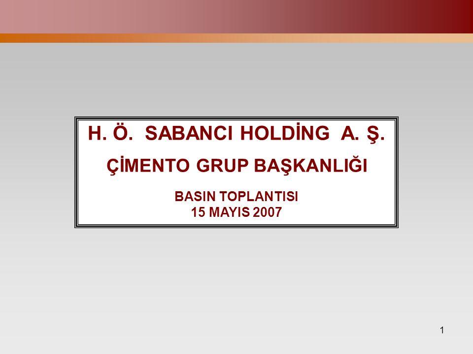 1 H. Ö. SABANCI HOLDİNG A. Ş. ÇİMENTO GRUP BAŞKANLIĞI BASIN TOPLANTISI 15 MAYIS 2007