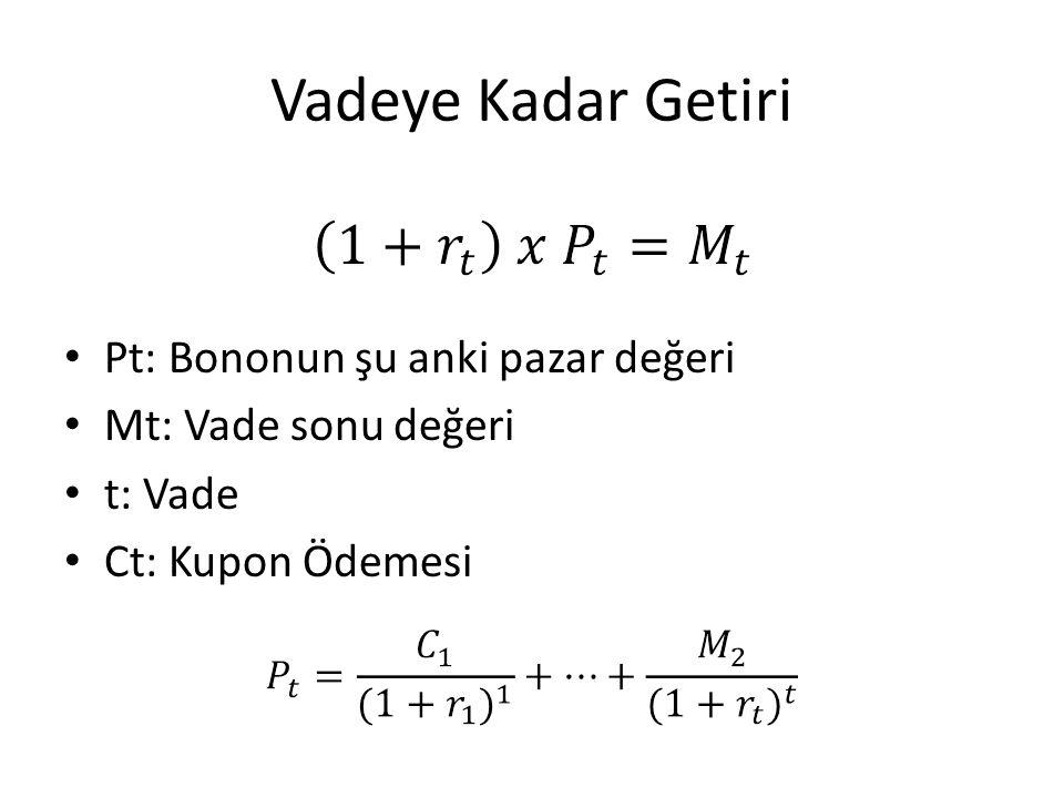Vadeye Kadar Getiri Pt: Bononun şu anki pazar değeri Mt: Vade sonu değeri t: Vade Ct: Kupon Ödemesi