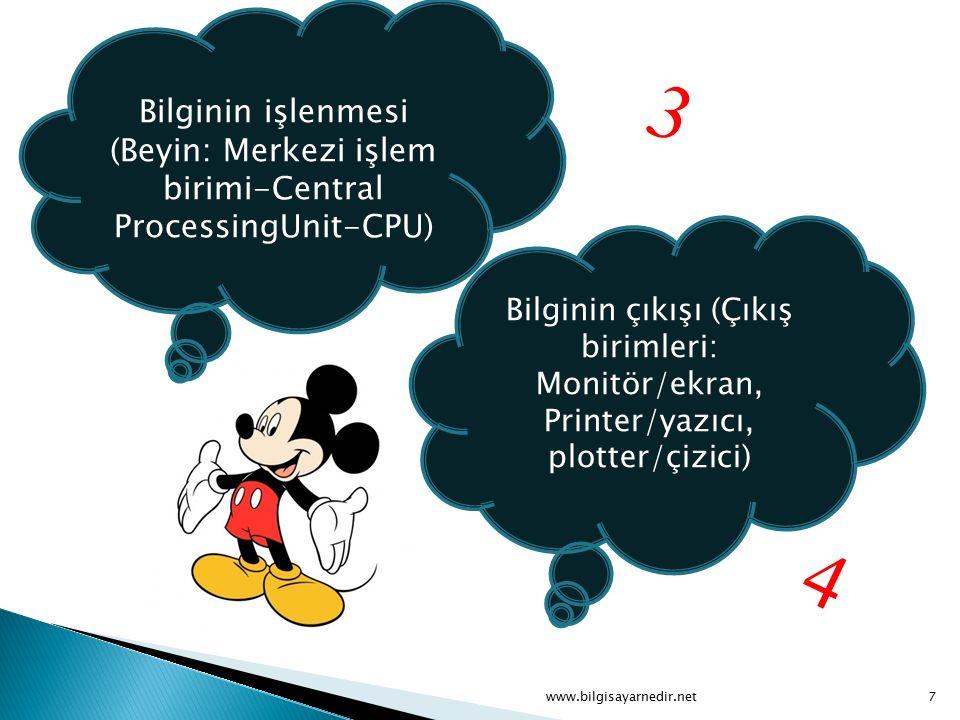 Bilginin işlenmesi (Beyin: Merkezi işlem birimi-Central ProcessingUnit-CPU) Bilginin çıkışı (Çıkış birimleri: Monitör/ekran, Printer/yazıcı, plotter/ç