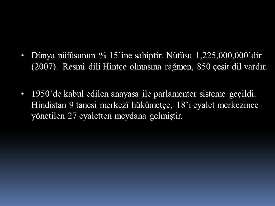 Dünya nüfûsunun % 15'ine sahiptir. Nüfûsu 1,225,000,000'dir (2007). Resmi dili Hintçe olmasına rağmen, 850 çeşit dil vardır. 1950'de kabul edilen anay