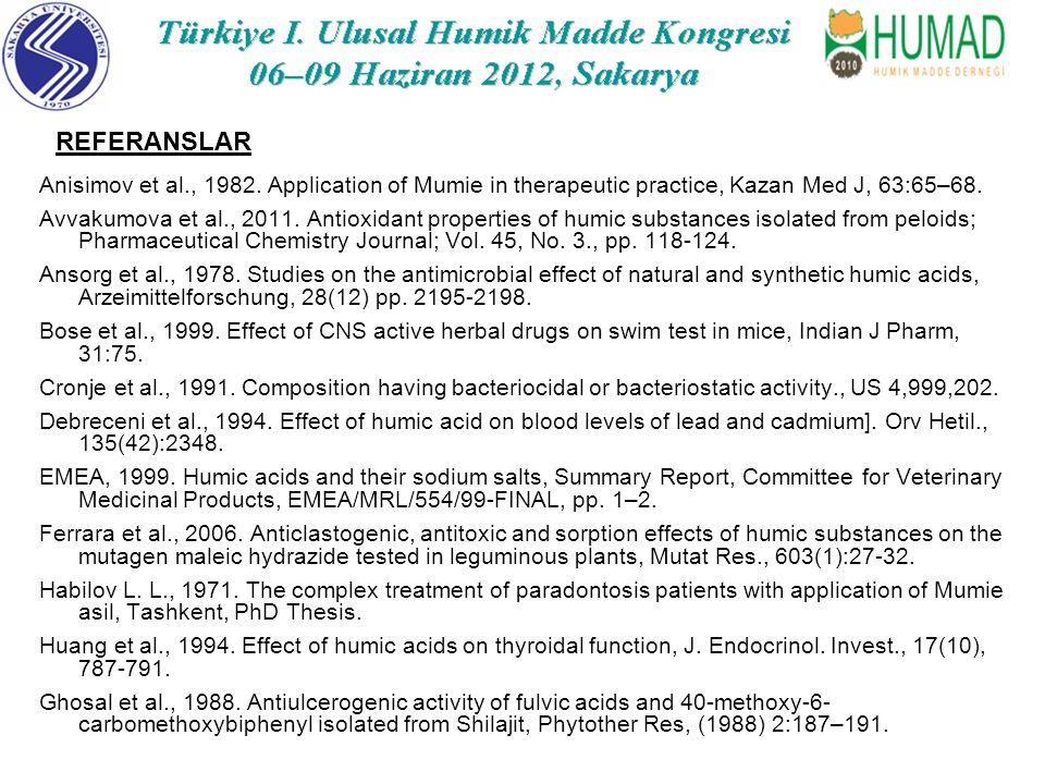 Anisimov et al., 1982.Application of Mumie in therapeutic practice, Kazan Med J, 63:65–68.