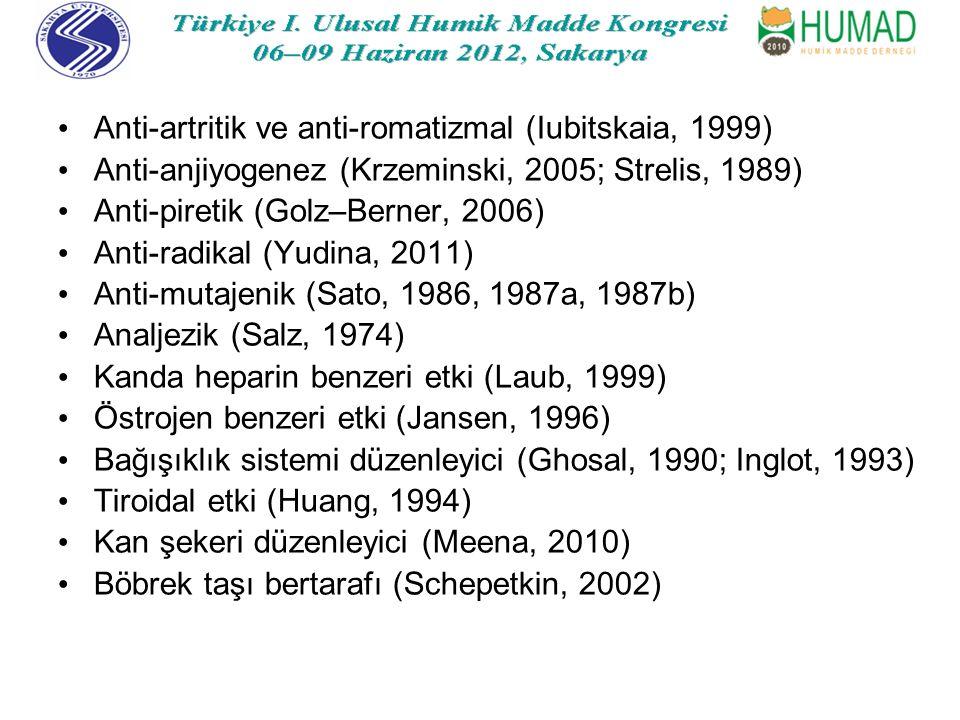 Anti-artritik ve anti-romatizmal (Iubitskaia, 1999) Anti-anjiyogenez (Krzeminski, 2005; Strelis, 1989) Anti-piretik (Golz–Berner, 2006) Anti-radikal (Yudina, 2011) Anti-mutajenik (Sato, 1986, 1987a, 1987b) Analjezik (Salz, 1974) Kanda heparin benzeri etki (Laub, 1999) Östrojen benzeri etki (Jansen, 1996) Bağışıklık sistemi düzenleyici (Ghosal, 1990; Inglot, 1993) Tiroidal etki (Huang, 1994) Kan şekeri düzenleyici (Meena, 2010) Böbrek taşı bertarafı (Schepetkin, 2002)