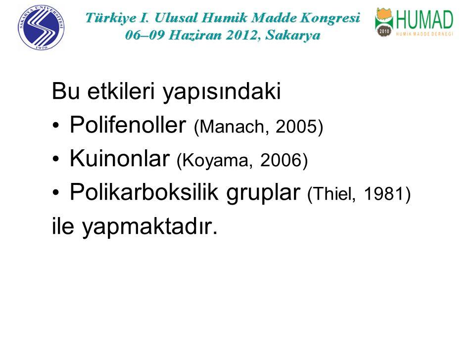 Bu etkileri yapısındaki Polifenoller (Manach, 2005) Kuinonlar (Koyama, 2006) Polikarboksilik gruplar (Thiel, 1981) ile yapmaktadır.