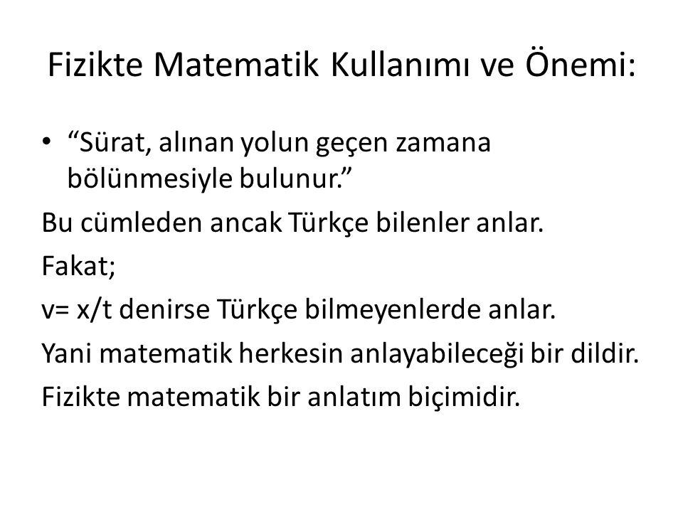 """Fizikte Matematik Kullanımı ve Önemi: """"Sürat, alınan yolun geçen zamana bölünmesiyle bulunur."""" Bu cümleden ancak Türkçe bilenler anlar. Fakat; v= x/t"""