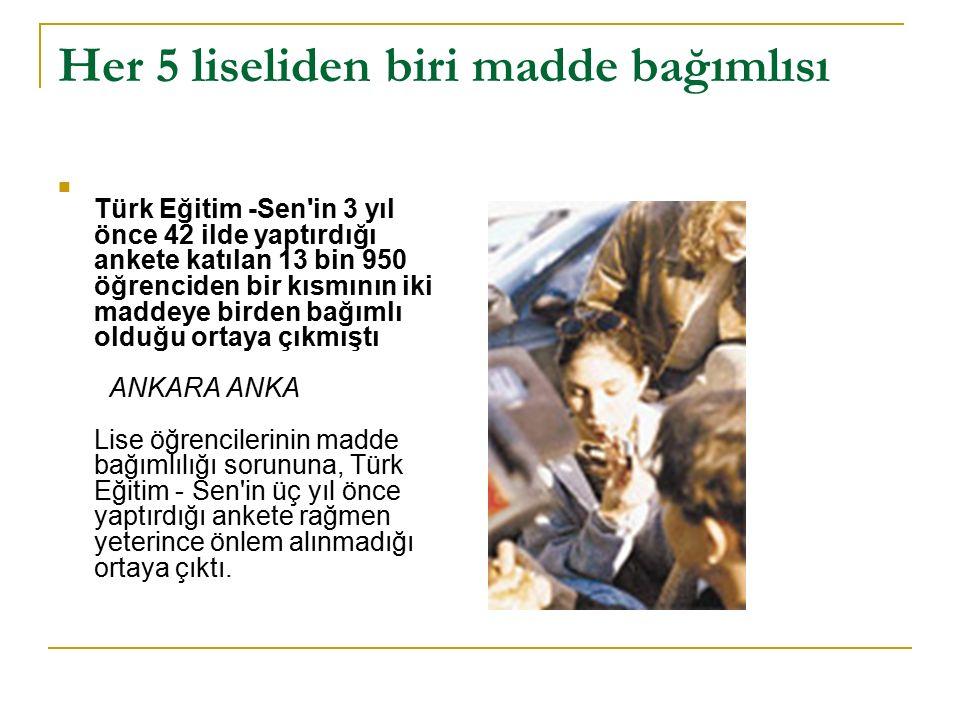 Her 5 liseliden biri madde bağımlısı Türk Eğitim -Sen'in 3 yıl önce 42 ilde yaptırdığı ankete katılan 13 bin 950 öğrenciden bir kısmının iki maddeye b