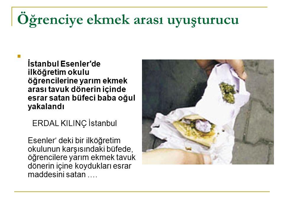 Öğrenciye ekmek arası uyuşturucu İstanbul Esenler'de ilköğretim okulu öğrencilerine yarım ekmek arası tavuk dönerin içinde esrar satan büfeci baba oğu