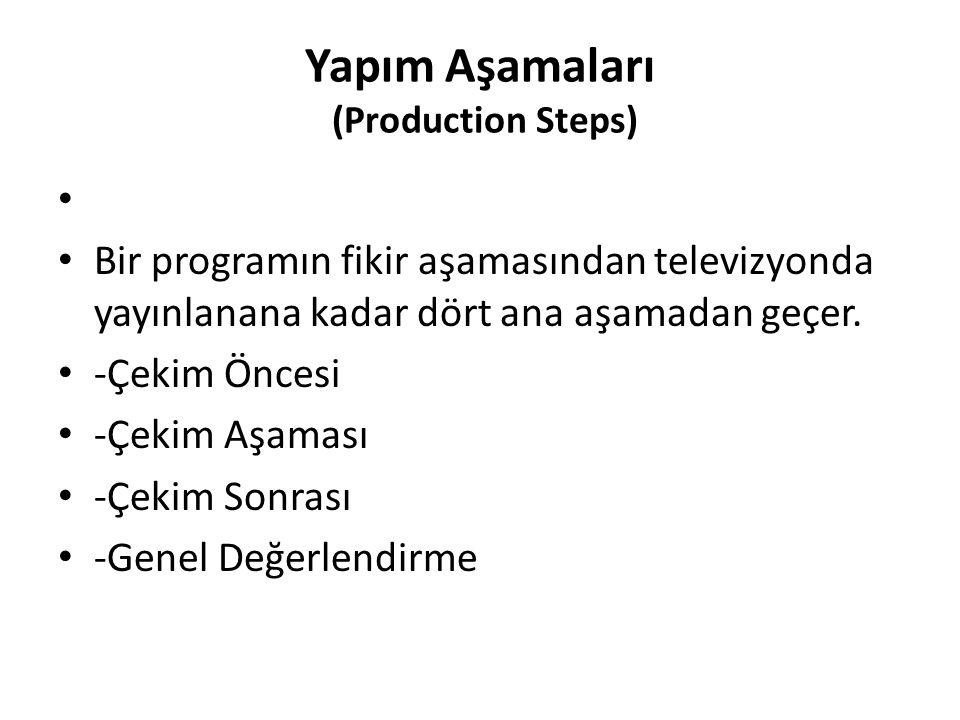 Yapım Aşamaları (Production Steps) Bir programın fikir aşamasından televizyonda yayınlanana kadar dört ana aşamadan geçer. -Çekim Öncesi -Çekim Aşamas