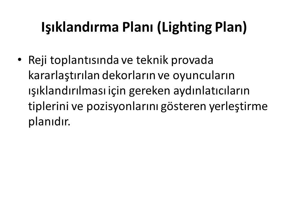 Işıklandırma Planı (Lighting Plan) Reji toplantısında ve teknik provada kararlaştırılan dekorların ve oyuncuların ışıklandırılması için gereken aydınl