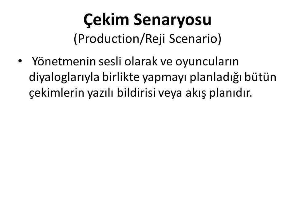 Çekim Senaryosu (Production/Reji Scenario) Yönetmenin sesli olarak ve oyuncuların diyaloglarıyla birlikte yapmayı planladığı bütün çekimlerin yazılı b
