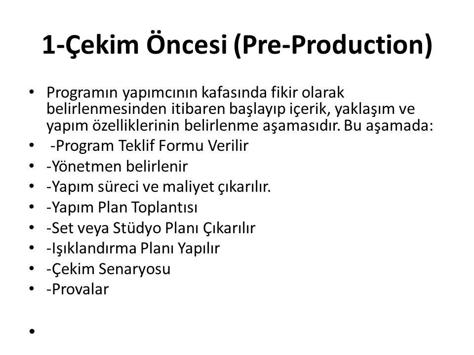 1-Çekim Öncesi (Pre-Production) Programın yapımcının kafasında fikir olarak belirlenmesinden itibaren başlayıp içerik, yaklaşım ve yapım özelliklerini