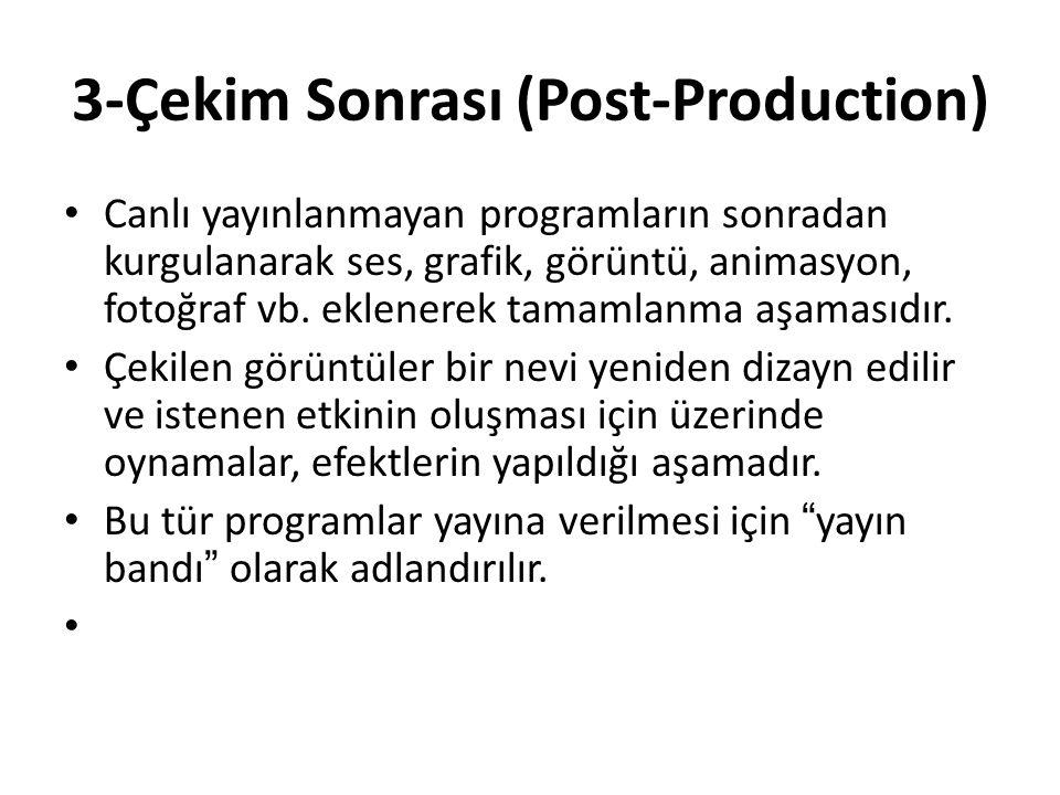 3-Çekim Sonrası (Post-Production) Canlı yayınlanmayan programların sonradan kurgulanarak ses, grafik, görüntü, animasyon, fotoğraf vb. eklenerek tamam