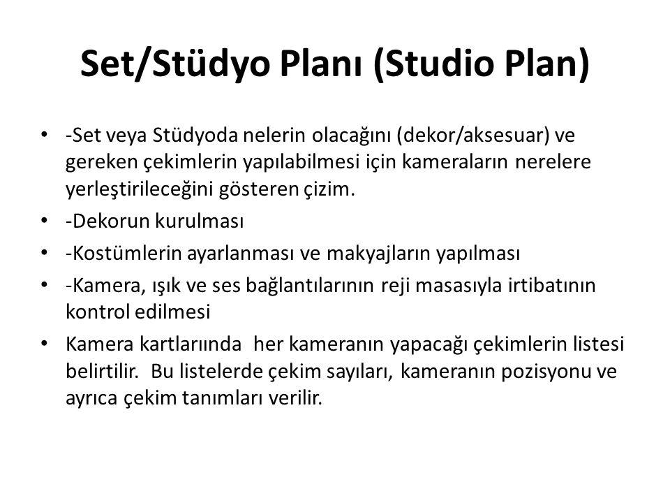 Set/Stüdyo Planı (Studio Plan) -Set veya Stüdyoda nelerin olacağını (dekor/aksesuar) ve gereken çekimlerin yapılabilmesi için kameraların nerelere yer
