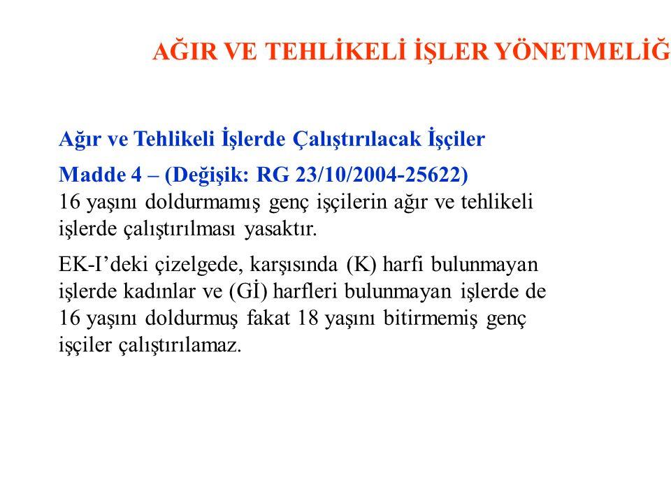 AĞIR VE TEHLİKELİ İŞLER YÖNETMELİĞİ Ağır ve Tehlikeli İşlerde Çalıştırılacak İşçiler Madde 4 – (Değişik: RG 23/10/2004-25622) 16 yaşını doldurmamış ge