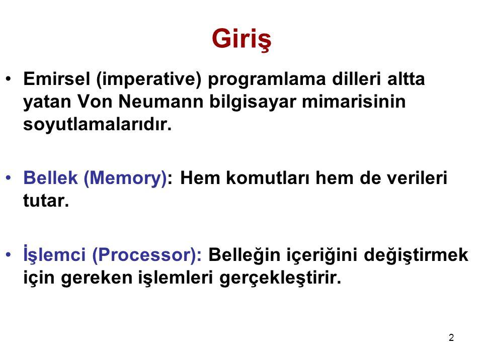 2 Giriş Emirsel (imperative) programlama dilleri altta yatan Von Neumann bilgisayar mimarisinin soyutlamalarıdır. Bellek (Memory): Hem komutları hem d