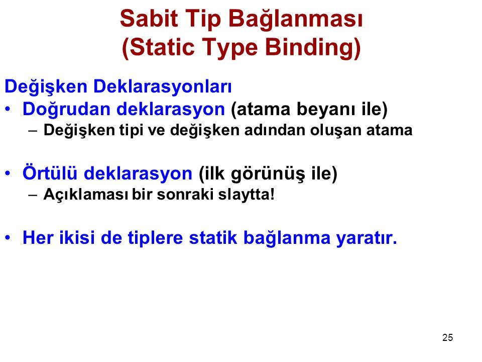 25 Sabit Tip Bağlanması (Static Type Binding) Değişken Deklarasyonları Doğrudan deklarasyon (atama beyanı ile) –Değişken tipi ve değişken adından oluşan atama Örtülü deklarasyon (ilk görünüş ile) –Açıklaması bir sonraki slaytta.