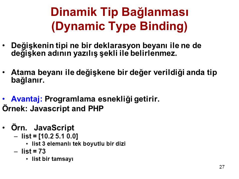 27 Dinamik Tip Bağlanması (Dynamic Type Binding) Değişkenin tipi ne bir deklarasyon beyanı ile ne de değişken adının yazılış şekli ile belirlenmez.