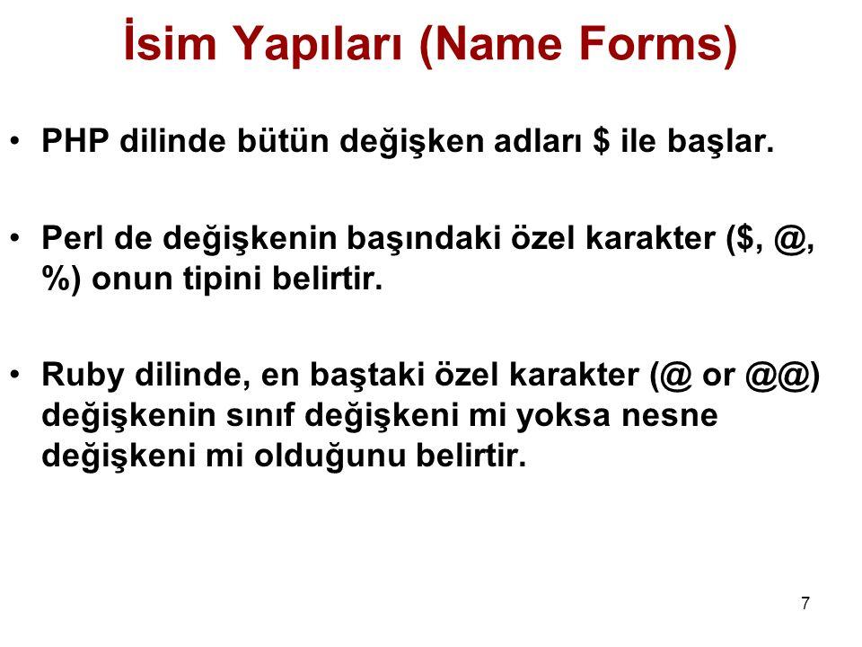 7 İsim Yapıları (Name Forms) PHP dilinde bütün değişken adları $ ile başlar. Perl de değişkenin başındaki özel karakter ($, @, %) onun tipini belirtir
