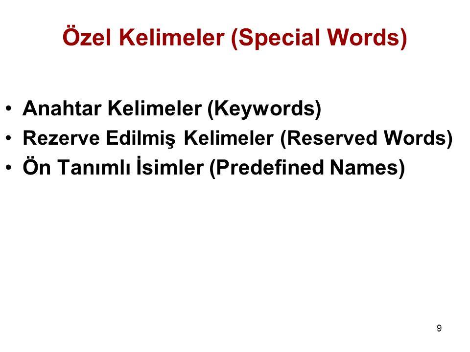 9 Özel Kelimeler (Special Words) Anahtar Kelimeler (Keywords) Rezerve Edilmiş Kelimeler (Reserved Words) Ön Tanımlı İsimler (Predefined Names)