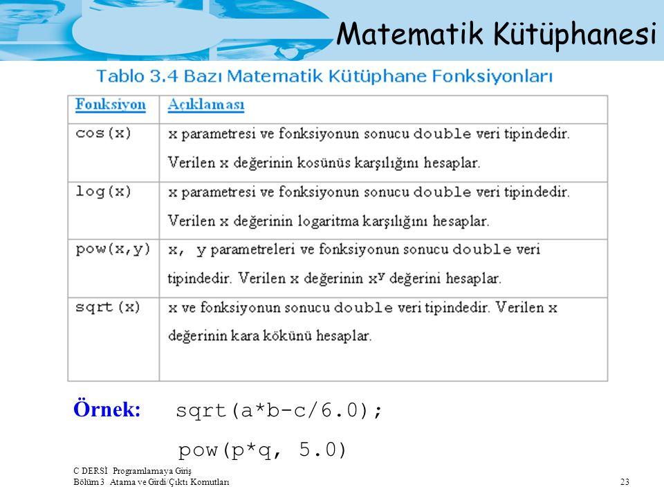 C DERSİ Programlamaya Giriş Bölüm 3 Atama ve Girdi/Çıktı Komutları 23 Matematik Kütüphanesi Örnek: sqrt(a*b-c/6.0); pow(p*q, 5.0)