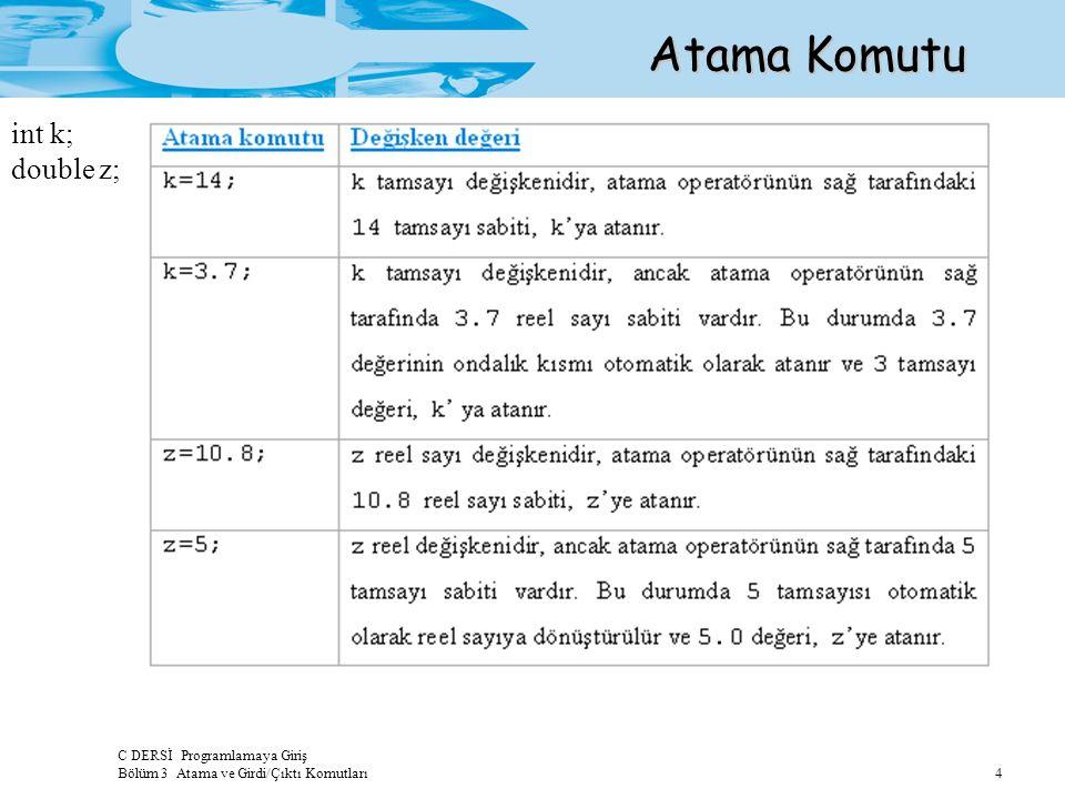 C DERSİ Programlamaya Giriş Bölüm 3 Atama ve Girdi/Çıktı Komutları 4 Atama Komutu int k; double z;