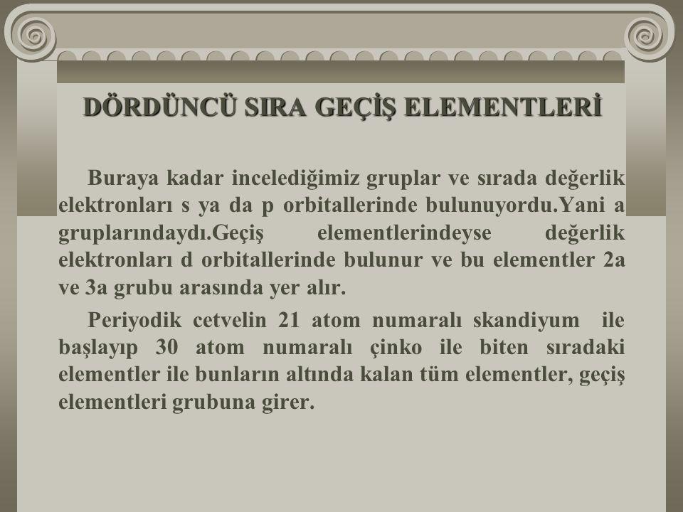 ÜÇÜNCÜ SIRA ELEMENTLERİ Ж Üçüncü sıranın elementleri şunlardır: Na, Mg, Al, Si, P, S, Cl, Ar Ж Üçüncü sıranın ilk üç elementi Na, Mg ve Al metal,dördü