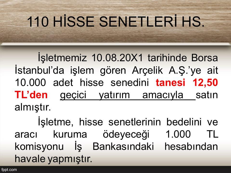 110 HİSSE SENETLERİ HS. İşletmemiz 10.08.20X1 tarihinde Borsa İstanbul'da işlem gören Arçelik A.Ş.'ye ait 10.000 adet hisse senedini tanesi 12,50 TL'd
