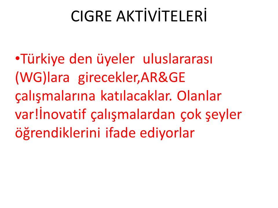 CIGRE AKTİVİTELERİ Türkiye den üyeler uluslararası (WG)lara girecekler,AR&GE çalışmalarına katılacaklar.