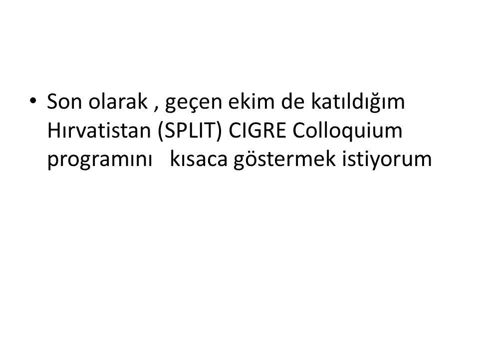 Son olarak, geçen ekim de katıldığım Hırvatistan (SPLIT) CIGRE Colloquium programını kısaca göstermek istiyorum